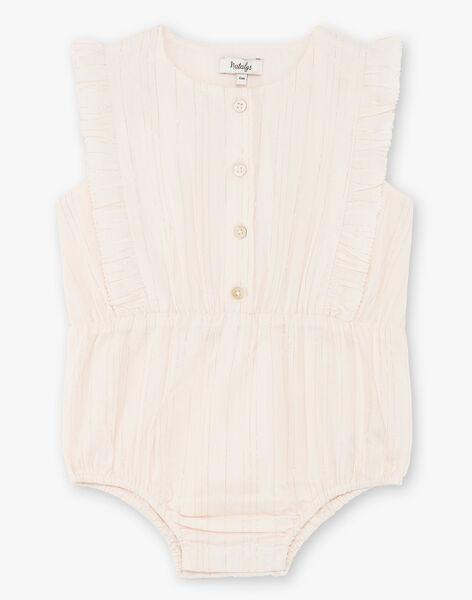 Barboteuse rose pâle en voile de coton à rayures Lurex® fille CORALINE 21 / 21VU1912N27321