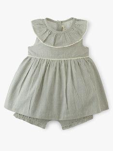Robe fille rayée vert de gris et touches de lurex et bloomer intégré  ANNABELLE 20 / 20VV2212N18631