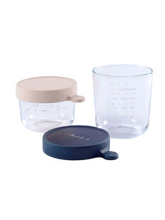 2 pots en verre 150 mL rose/250 mL bleu PORTION VERRE 2 / 18PRR2008VAI999