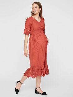 Robe de grossesse à broderies Mamalicious rouge brique MLSHILOH ROBE / 19IW2667N18506
