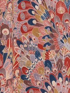 Combinaison rose et rouge imprimé liberty en coton enfant fille CALISTA 468 21 / 21V129112N05410