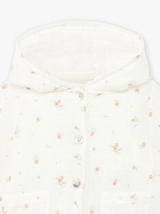 Veste en double gaze de coton vanille imprimé fleurs naissance fille DINI 21 / 21PV2211N17114