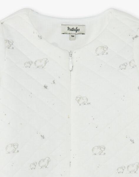 Grenouillère mixte vanille en tubic coton pima imprimé moutons   DOUMOU 21 / 21PV7313N31114