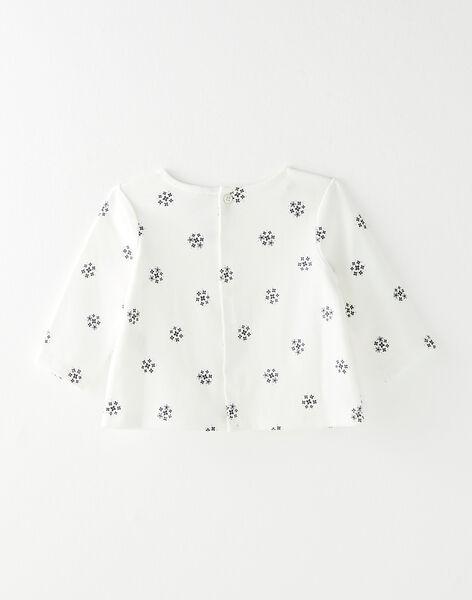 Tee-shirt fille vanille imprimé florale en interlock coton pima   BANEA 20 / 20IV2252N0F114