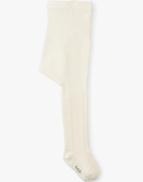 Collant fille vanille tricot fantaisie   ALOUISETTE-EL / PTXU6011N46114