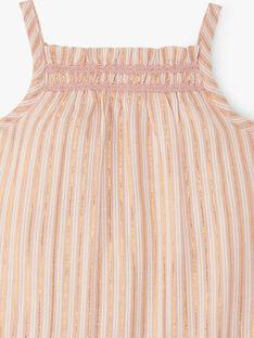 Combinaison fille courtes rayée lurex cuivré et rose tendre   ALOHA 20 / 20VU1922N26307
