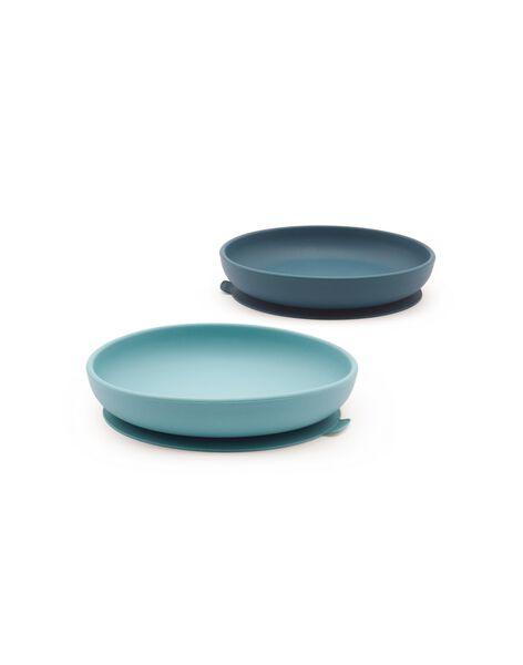 2 assiettes ventouse silicone blue abyss/blue lago ASS SILI BLUE / 21PRR2009VAI999