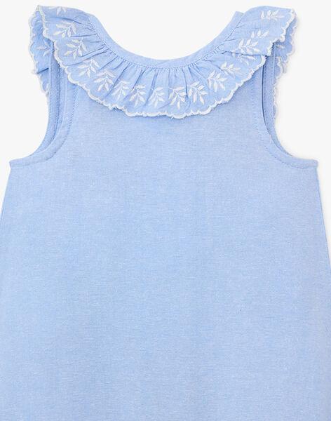 Combinaison courte fille en chambray bleu   APPOLINE 20 / 20VU1923N26721