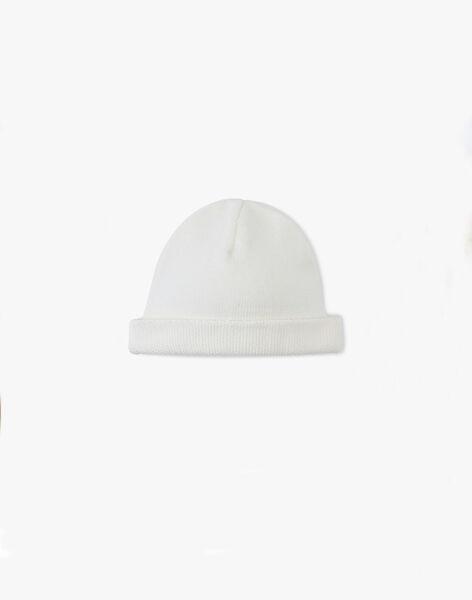 Bonnet tricot mixte vanille en coton bio  AMIRA 20 / 20PV7012N63114