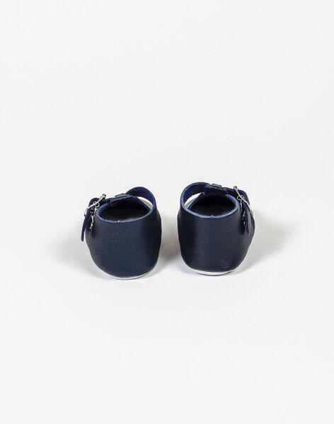 Chaussons en cuir personnalisables bleu marine WEBCHAUSMAR713