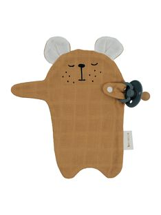 Doudou attache tetine ours ocre AT TET OURS OCR / 21PJPE005MIP101