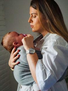 Porte-bébé coton bio Sling Simple June 22 thé gris chiné dès la naissance PBB TEA GRIS / 19PBDP010PBB943