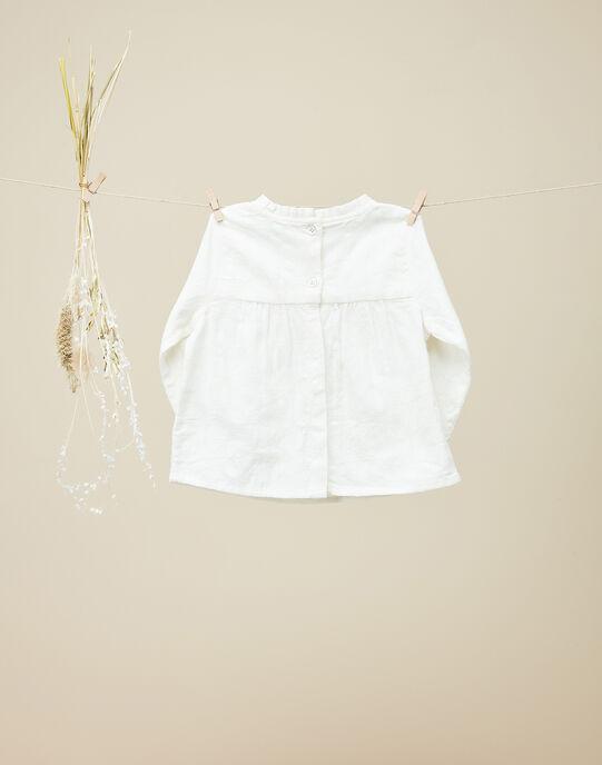 Blouse en coton avec motif floral vanille fille   VASOPHIE 19 / 19IU1922N09114