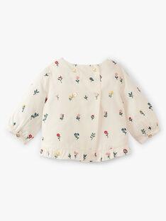 Blouse fille vanille ouverte dos et petites fleurs brodées  ABBY 20 / 20VV2211N09114