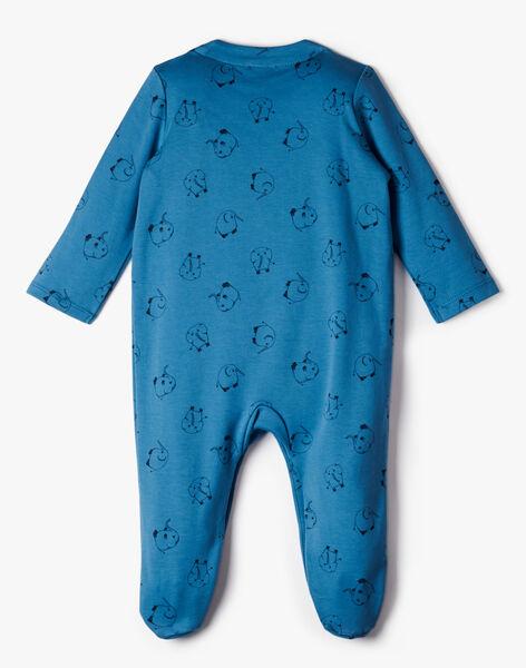 Grenouillère  imprimé éléphant bleu nattier garçon    AGNEL-EL / PTXX6613N32201