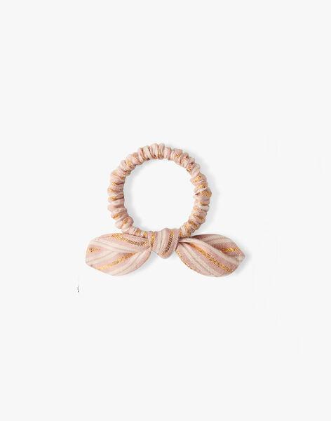 Chouchou fille rayé pointes de lurex et rose tendre  ALEANE 20 / 20VU6015N95307