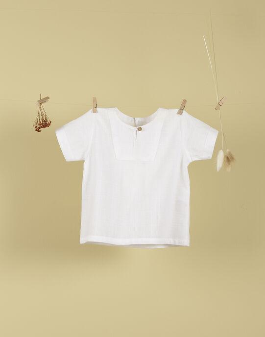 Chemise manches courtes à plastron blanche garçon TEMAKI 19 / 19VU2037N0A000