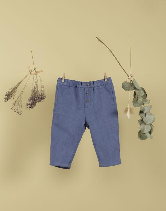 Pantalon bleu en coton et lin garçon THETIS 19 / 19VU2031N03208