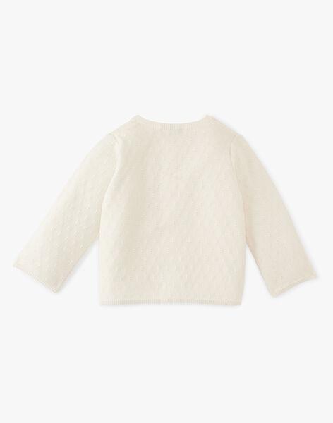 Cardigan fille coton pima couleur vanille  ARMANCE 20 / 20VU1913N11114