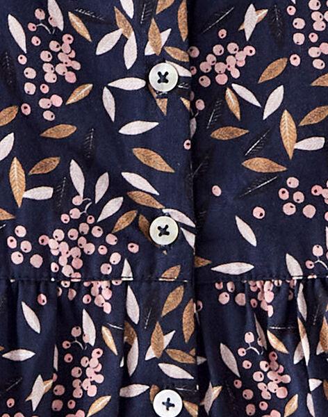 Combinaison longue fille bleu avec volants en imprimé fleuri  BABETH 20 / 20IV2251N26C205