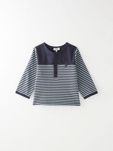 Tee shirt manche  longue bi-matière à rayure marine garçon  BART 20 / 20IU2052N0F070