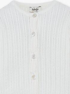Cardigan fille côte ajourée en coton bio vanille  CALISTE 21 / 21VV2211N11114