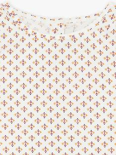 Blouse vanille et orange à imprimé ikat en coton fille CYRIELLE 468 21 / 21V129111N09114