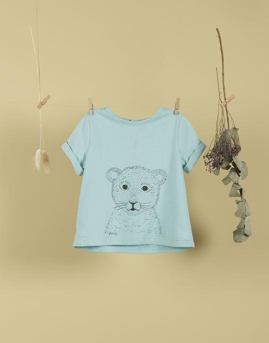 T-shirt lionceau bleu lagon garçon TEMENOS 19 / 19VU2031N0E210