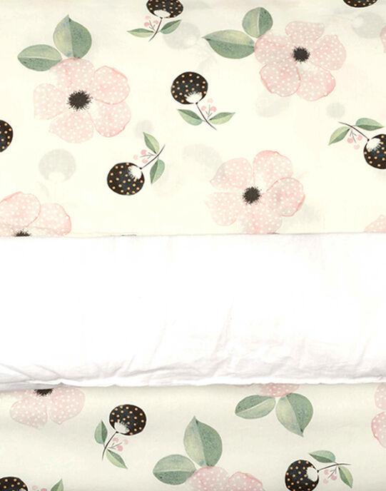 Housse de couette vanille imprimé fleurs fille 100x140 cm  ADELINE-EL / PTXQ6211N57114