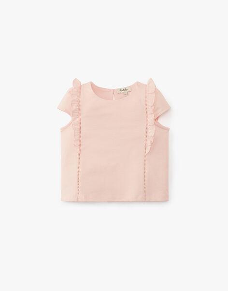 Tee-shirt fille en coton rose dragée  ALINDY 20 / 20VU1911N0ED310