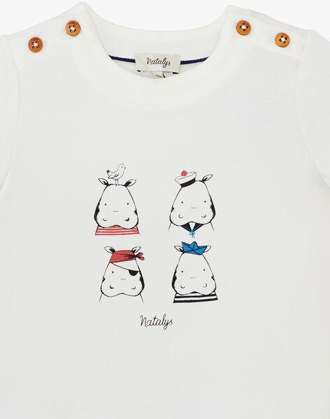 Tee shirt manche courte vanille avec motif hippopotame garçon  ANDREWS 20 / 20VU2021N0E114