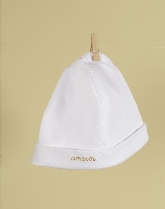 Bonnet de naissance blanc brodé mixte TAO 19 / 19PV7422N63000