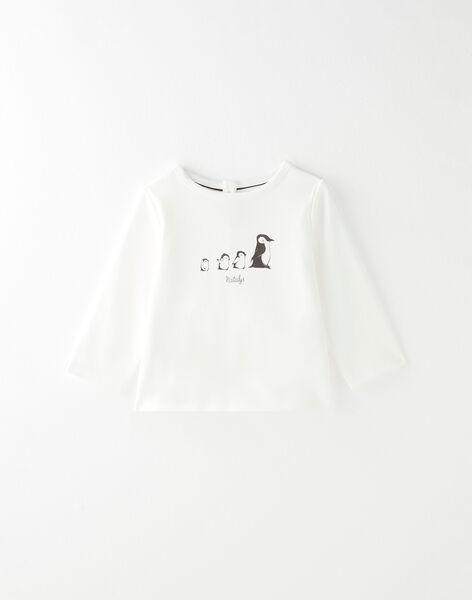 Tee shirt manche longue vanille avec motif placé garçon  BARNABE 20 / 20IU2051N0F114