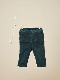 Pantalon en velours côtelé vert émeraude garçon   VOLCY 19 / 19IU2035N03608