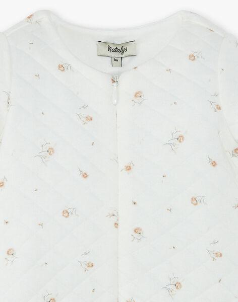 Grenouillère fille vanille en tubic coton pima  imprimé fleurs  DIFLEURS 21 / 21PV7113N31114