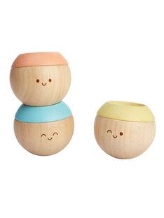 Jeu 3 petites têtes à empiler Plan Toys pastel 6,1x6,1x5,3 cm dès 6 mois TETES SENS PAST / 19PJJO006JBO999