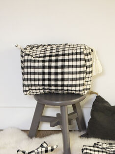 Trousse de toilette à carreaux vichy noir et vanille mixte  AUGUSTAVE-EL / PTXQ6311TTO114