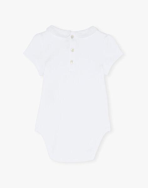 Body fille à col et manches courtes coton pima blanc  ASTELLA-EL / PTXV2212N29000
