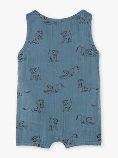 Combinaison garçon bleu horizon en imprimé sur gaze de coton biologique  CHRIS 21 / 21VV2311N26216