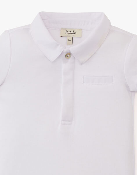 Body uni blanc bi matière manche courte garçon  ARMONIE-EL / PTXU2013N29000