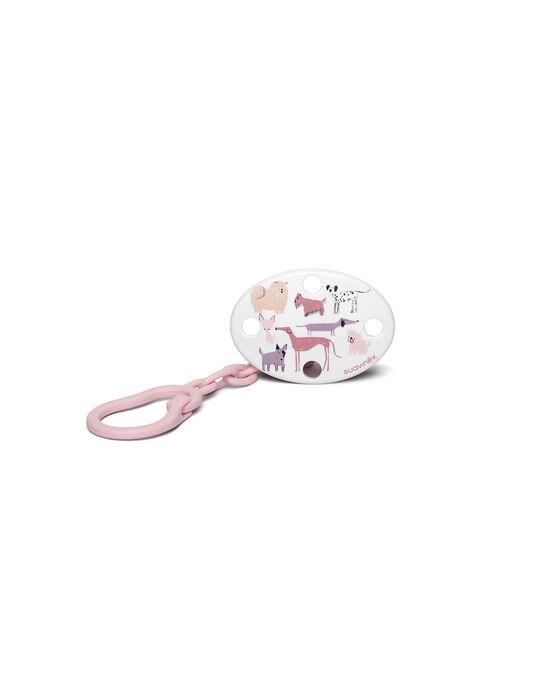Attache-sucette chien Suavinex rose 11,9x6,5x5,4 cm dès la naissance ATACH SU7 RO CH / 19PRR1012SUC030