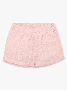 Short fille broderie anglaise couleur rose dragé   AIMELINE 20 / 20VU1921N02D310